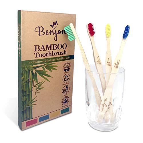 Cepillos De Dientes De Bambú Cerdas Duras Marca BenJon
