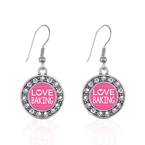 Inspired Silver - I Love Baking Charm Earrings for Women - Silver Circle Charm French Hook Drop Earrings with Cubic Zirconia Jewelry