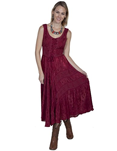 Scully Women's Lace-Up Jacquard Dress Burgundy Large