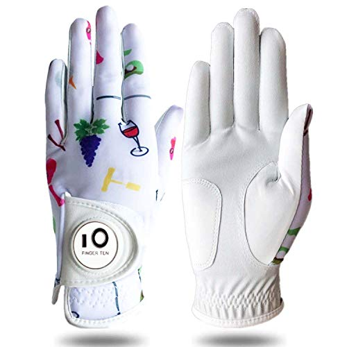 Womens Golf Glove with Ball Marker Rain Left Right Hand Leather Printed Pack, Ladies Golf Gloves All Weather Grip Breathable Soft Size Small Medium Large XL (Wine&Golf, Small-Worn on Left Hand)