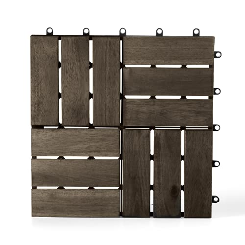 Solid Wood Interlocking Flooring Tiles, (12
