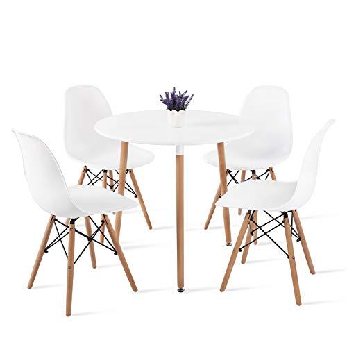 DORAFAIR Pack de 4 Sillas Blanca & Mesa Redonda de Cocina, Juego de sillas de Comedor Moderna Nórdica Patas de Madera
