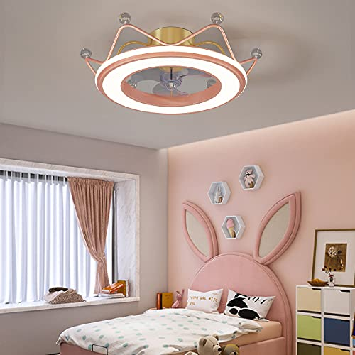 MYYINGBIN Infantiles Dormitorio Ventilador Techo con Luz Y Mando A Distancia Silencioso Led Moderno Regulable Lamparas SalóN 49W φ60cm,Rosado