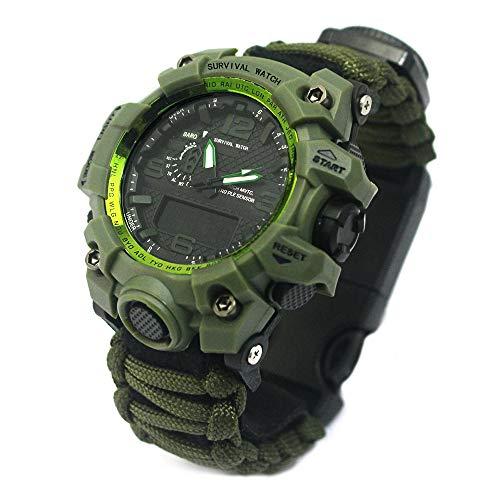 YzoTek 6 en 1 reloj de pulsera de supervivencia al aire libre, deportes de emergencia, resistente al agua primeros auxilios con paracord, brújula, termómetro, silbato, arrancador de fuego, raspador