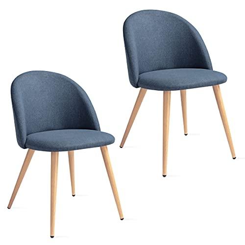 Mc Haus SOFI - Pack 2 sillas nórdicas tapizadas con respaldo y asiento acolchados, salón-dormitorio, 49x46x77cm, Color Azul