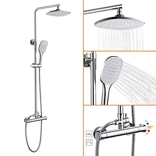 Duschsystem mit Thermostat, WOOHSE Duscharmatur Regendusche Duschkopf mit Wandhalterung, verstellbare Duschstange 3 Funktionen Handbrause Duschset für Badzimmer