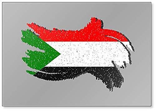Kühlschrankmagnet, Motiv Sudan Flagge mit Schatten auf isoliertem Hintergr&