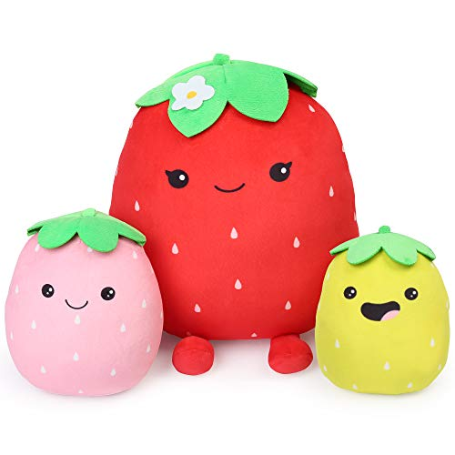 BenBen Kawaii Plush Strawberry Pillow, Set of 3 Cute Plushies, 12'', 7'' and 6'', Squishy Stuffed Toy, Fruit Hugging Cushion, Soft Gift for Kids Girls Baby