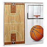 MAYUES Cortina de baño, ilustración de Tablero de la cancha de básquetbol Juego de Cortinas de baño con temática Deportiva Realista con Ganchos 72 x 72 Pulgadas