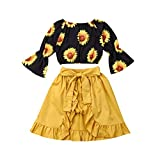 Toddler Kids Baby Girl Ruffles Halter Shoulder Off Crop Top + Shorts + Irregular Skirts Dress Set Summer Outfits Clothes (6-12 Months, Sunflower Black Flare Sleeves - Yellow)