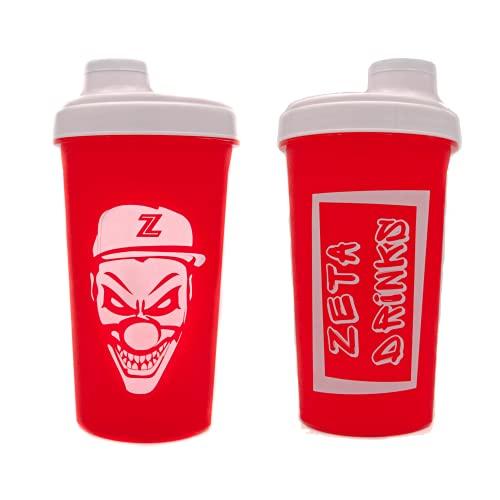 ZETA DRINKS SHAKER Botella de agua mezcladora de bebidas energéticas y de proteínas Con tapa antigoteo 700ml   1 UNIDAD (Rojo)