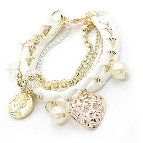Armreif Lovely Hollow Heart Imitation Perle Niedliche koreanische Art handgewebte Mode Multilayer Armband Hot Gugutogo