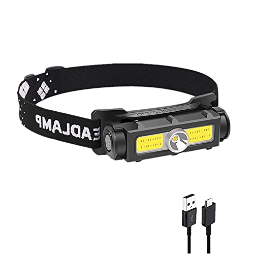 WINDFIRE Linterna Frontal LED USB Recargable, COB LED Linterna de Cabeza con 3 Modos, Impermeable IPX6, Superbrillante 600 Lúmenes Linterna Frontal para Adultos y Niños, Pesca, Bicicleta, Camping