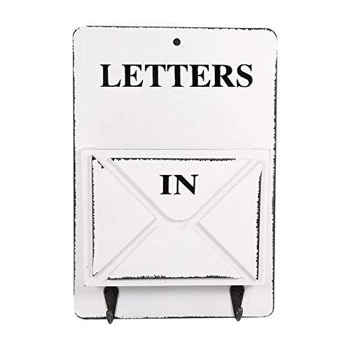 Zerodis Briefhalter, Holz-Briefkasten, Schlüsselhalter, Wandaufbewahrung, kreative Vintage-Dekoration mit Haken, für Zuhause, Büro, Bar (weiß)