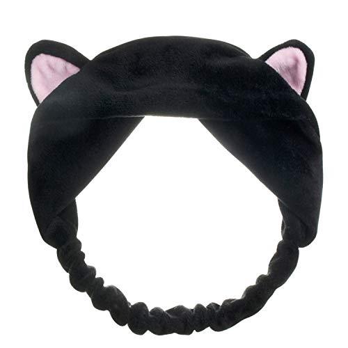 De feuilles Lot de 4 Bnadeaux Cheveux Femme Fille Multifonction Headbands Serre-têtes Chat Mignon Bande élastique pour Douche Débarbouillage Maquillage (Noir)