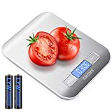 AMOMO Digital Kitchen Weighing Scales, 5KG Premium Stainless Steel Cooking Scales, Stylish Ultra Slim Design Food Scales, LCD Display, Compact Storage, Easy Clean, Silver