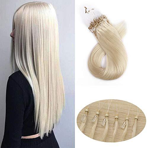 Extension Cheveux Naturel a Froid Micro Loop - Rajout Cheveux Humain Anneaux (#70 Blanc blanchi, 20\
