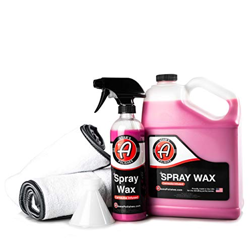Adam's Spray Wax Kit - Advanced Carnauba Car Wax | Car Detailing Spray Polish | During Car Wash Paste Wax Clay Bar & Buffer Polisher For Ultimate Protection On Paint Wheels Windows | Cleaning Supplies