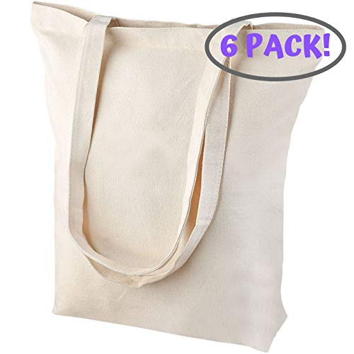 Premium Heavy Duty Large (15x15x4 Inch) Natural Canvas Tote Bags with Bottom Gusset (6 Pack) for Crafts, Shopping, Groceries, Books, Welcome Bag, Beach Bag, and More!