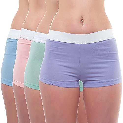Bongual Unterhosen Damen Boxershorts Baumwolle Panty Frauen Unterwäsche Shorts Schlafhose kurz XL/42 4X pastelmix