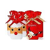 Anyingkai 50pcs Bolsa de Dulces Navideños,Bolsa de Dulces set,Bolsas de Regalo de Comunion,Bolsas de Regalo con Cordón de Navidad,Bolsas de Regalo con Cordón,Bolsa Navidad (D)