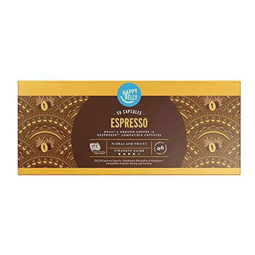 Marca Amazon - Happy Belly Espresso Café molido de tueste natural en cápsulas (compostables) compatibles con Nespresso, 50 cápsulas (5x10)