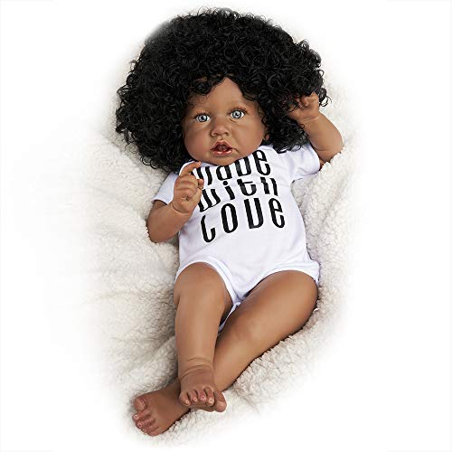 JIZHI Realistic Reborn Baby Dolls [Hand Painted & Wrinkle Skin] 20 Inch Black African American Lifelike Baby Dolls Soft Silicone Vinyl Newborn Baby Dolls for Baby Kids Age 3+
