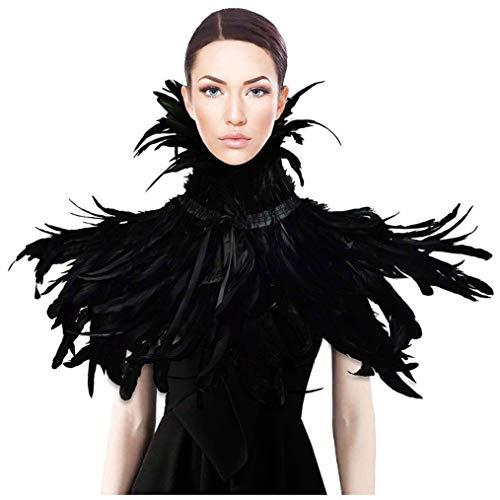 Schwarz Natürliche Feder Cape Gothic Schal Maleficent Rabenkostuem (style 3)