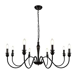 LynPon Black Farmhouse Chandelier, 8 Lights Matte Black Candle Style Chandeliers Dining Room Lighting Fixture Iron Rustic Industrial Ceiling Light for Living Room Kitchen Island Foyer Bedroom