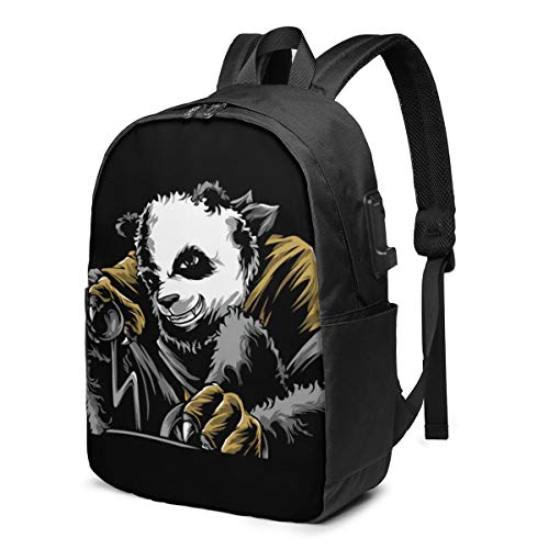 Angry Panda Hand Drawing Travel School Backpack with USB Charging Port 17 Inch Doctor Work Bag for Women&Men College Students