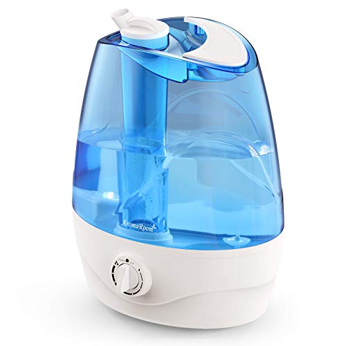 Cool Mist Humidifier, 3.2L Ultrasonic Humidifiers for Bedroom Kids, Air Humidifier for Home, Whisper Quiet Vaporizer for Babies with 360°Nozzle,Waterless Auto Shut Off,30H Work Time, Filterless, Blue