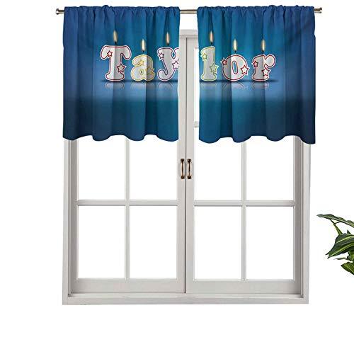 Hiiiman Cenefa de cortina opaca con bolsillo para barra, nombre común en inglés, diseño de velas de ocasión feliz, juego de 1, 127 x 45 cm, cenefa corta recta para sala de estar