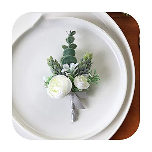 Art Flower Pulsera de ramillete de la muñeca de la boda de las damas de honor Flores de seda del novio Boutonniere Pin de los hombres rosas blancas de la boda ramillete accesorios-C Boutonniere