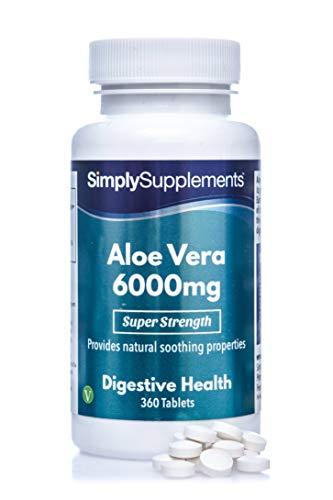 Aloe Vera 6000mg   360 Comprimés   Adapté aux végétaliens   Jusqu'à 6 mois de bienfaits  SimplySupplements