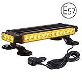 Luz LED Estroboscópica 30 LED 30W 7 Modos E57 Lampara Advertencia Barra de Emergencia Base Magnética IP65 con Enchufe para Mechero de Coche para 12/24V Vehículo Tractor Camión
