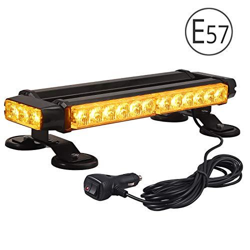 30 LEDs Luz LED Estroboscópica 30W 7 Modos E57 Faro Intermitente de Advertencia de Emergencia Ámbar Blanco Magnético IP65 con Enchufe para Mechero de Coche de 12/24V para Vehículo Tractor Camión