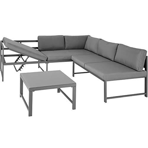 TecTake 403902 Aluminium Sitzgruppe für Garten, Balkon und Terrasse, wetterfest, 6-Fach verstellbare Rückenlehne, Tisch mit Sicherheitsglasplatte, inkl. weiche Sitz- und Rückenkissen, grau