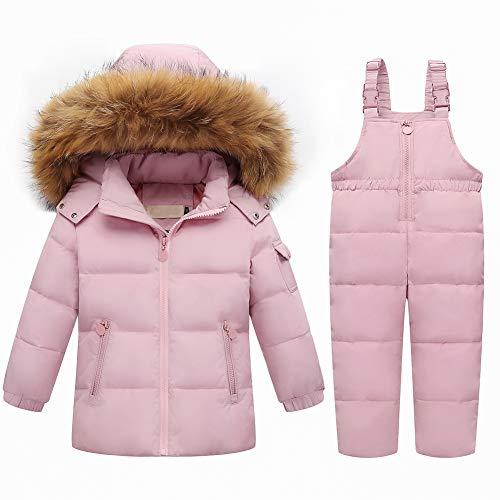 SXSHUN Bebés Traje de Nieve de Abajo Chaqueta con Capucha de Pelo + Peto con Cremallera Conjunto Caliente para Invierno, Rosa, 3 años (Etiqueta: 110cm)