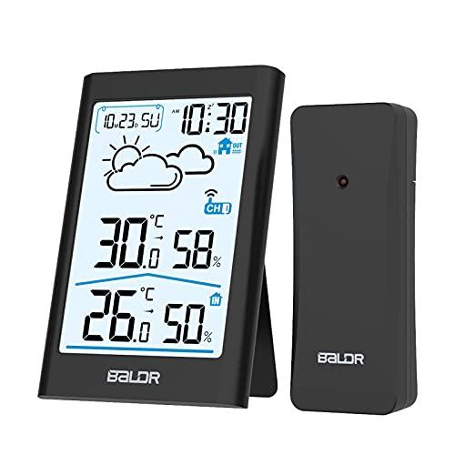 BALDR Wetterstation Funk mit Außensensor, Digital Thermometer Hygrometer Innen und Außen Raumthermometer Feuchtigkeit mit Wettervorhersage, Uhrzeitanzeige, Wecker und Nachtlicht