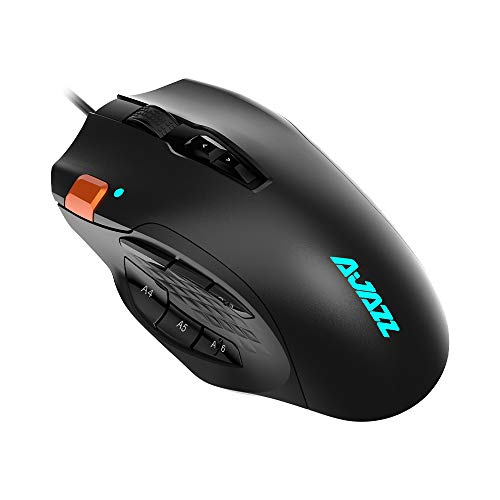 NACODEX AJ337 USB Wired MMO Gaming Mouse with 12 Programmable Buttons - 10000 DPI Optical Sensor - Chroma RGB Lighting - Ergonomic Professional PC Mice