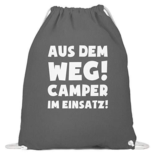 shirt-o-magic Camping: Camper im Einsatz! - Baumwoll Gymsac -37cm-46cm-Grafit Grau