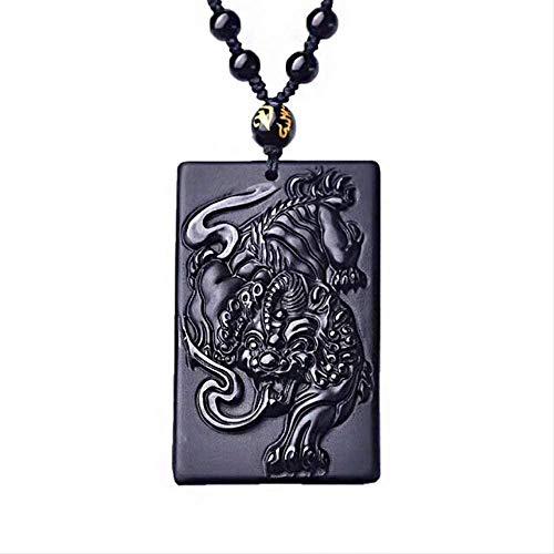Original obsidiana Collar Colgante espíritu Jade Colgante Suerte Amuleto joyería Hombres s joyería Jade joyería