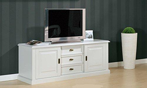 Legno&Design Meuble TV Bas Buffet Porte TV 2 Portes 3 tiroirs Bois Art Pauvre