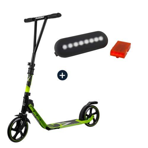 HUDORA BigWheel® Generation V 205, Scooter limegrün mit Sicherheitspaket LED Licht Rücklicht Tretroller Kickroller Cityroller Roller