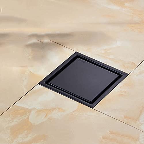LKYBOA Moderno Negro Puro Invisible Ducha Drenaje de Ducha/Baño Balcón Use Acero Inoxidable Azulejos Rápidos Drenaje Insertar Drenajes Cuadrados (Size : 11cmc)