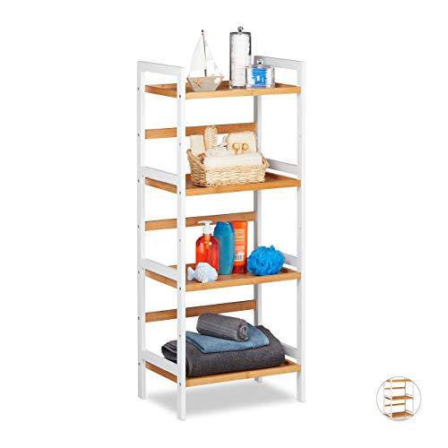 Relaxdays Badkamerrek, planken voor cosmetica, handdoeken, gebruiksvoorwerpen, bamboerek badkamer, HBT 110x45x31,5 cm, wit/natuur