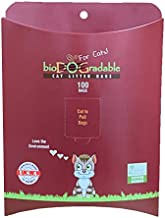 Cat Poop Litter Waste Bags - 100 Compostable Litter Bags Easy Tie Handles - Holds Up to 11 Lbs - 8 in by 16 in Alternative to Plastic Bags