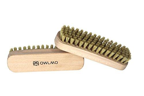 OWLMO® - 2er Set Reinigungsbürste aus Buchenholz 15,5cm | Kleiderbürste | Fusselbürste | Glanzbürste | Schuhbürste | Für Kleidung | Auto | Plastikfreie Verpackung