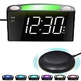 Mesqool Reloj Despertador de vibración Fuerte, Pantalla de LED, luz Nocturna de 7 Colores, Control de Brillo, 3 Niveles de Volumen, 2 Puertos de Carga USB, Reloj Digital para Parejas, sordos