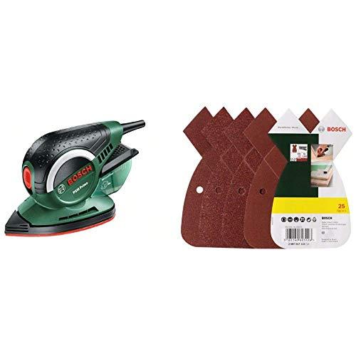 Bosch DIY Multischleifer PSM Primo, 1 Schleifpapier K 80, Karton + Bosch DIY 25tlg. Schleifblatt-Set verschiedene Materialien für Multischleifer (Körnung 80/120/180, 4 Löcher)